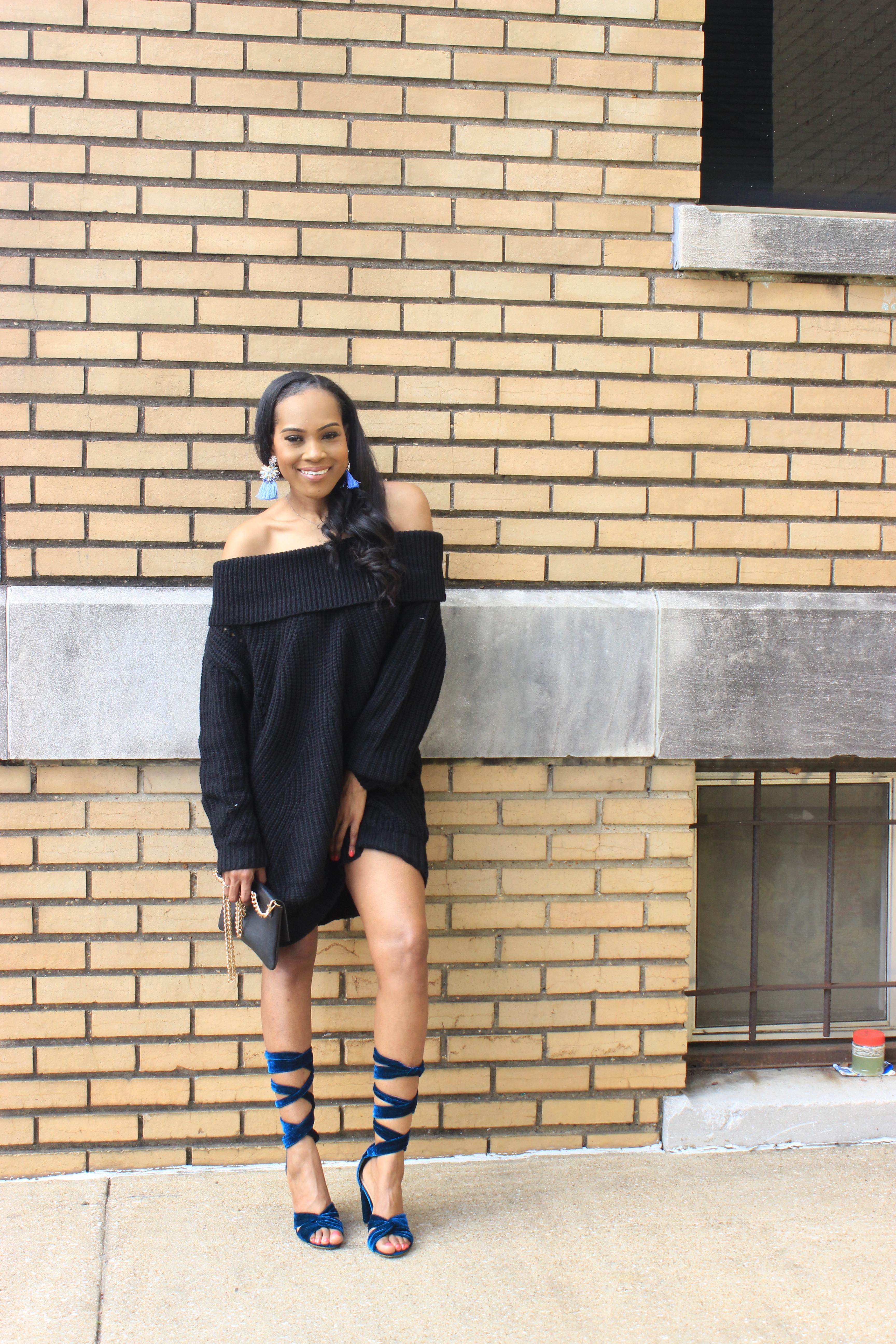 Style-Files-Tobi-nikki-black-off-the-shoulder-sweater-dress-justfab-blue-velvet-lace-up-sandals-justfab-teal-velvet-Acacia Heeled Sandals-oohlalablog-4