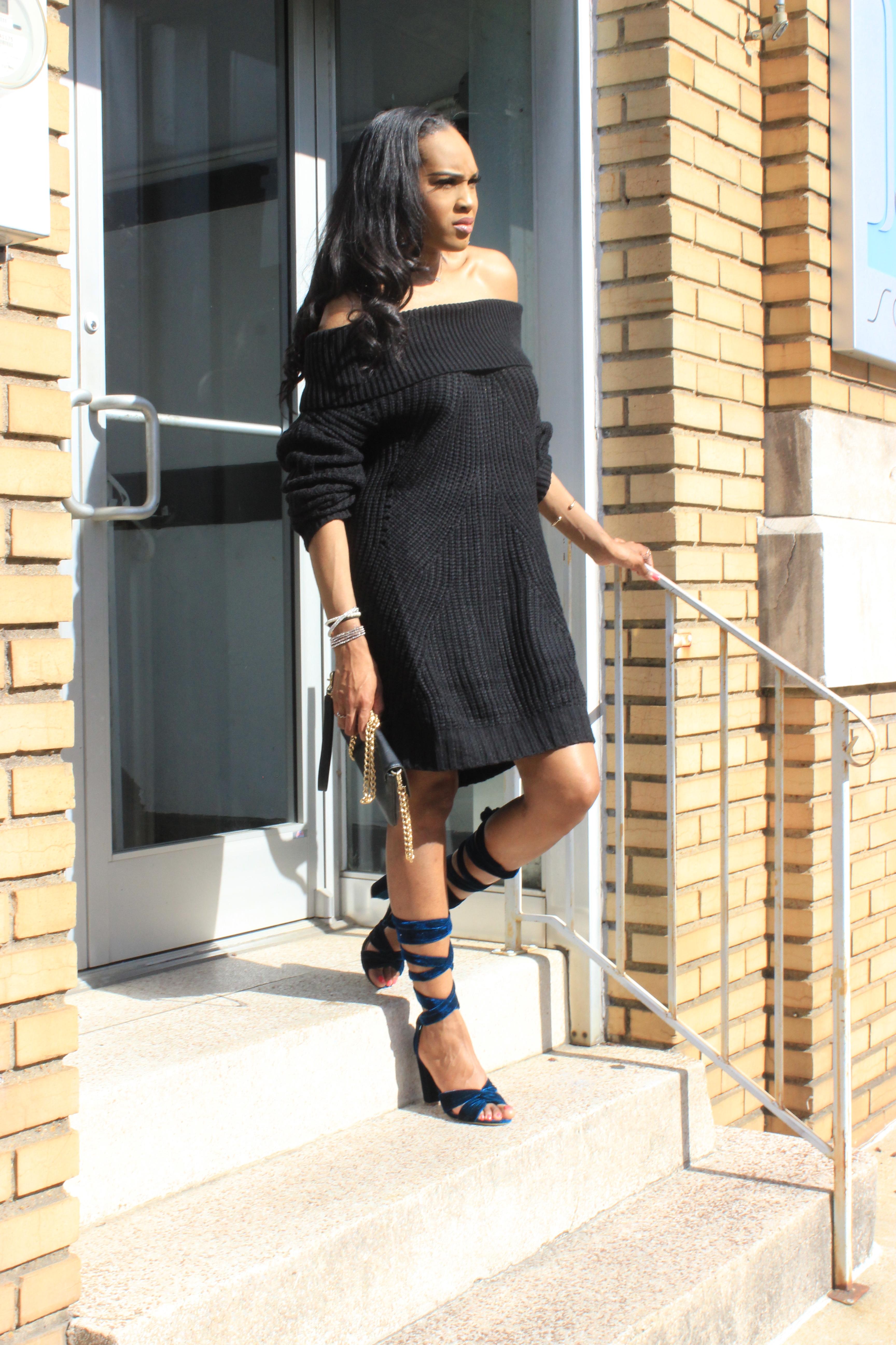 Style-Files-Tobi-nikki-black-off-the-shoulder-sweater-dress-justfab-blue-velvet-lace-up-sandals-justfab-teal-velvet-Acacia Heeled Sandals-oohlalablog-6