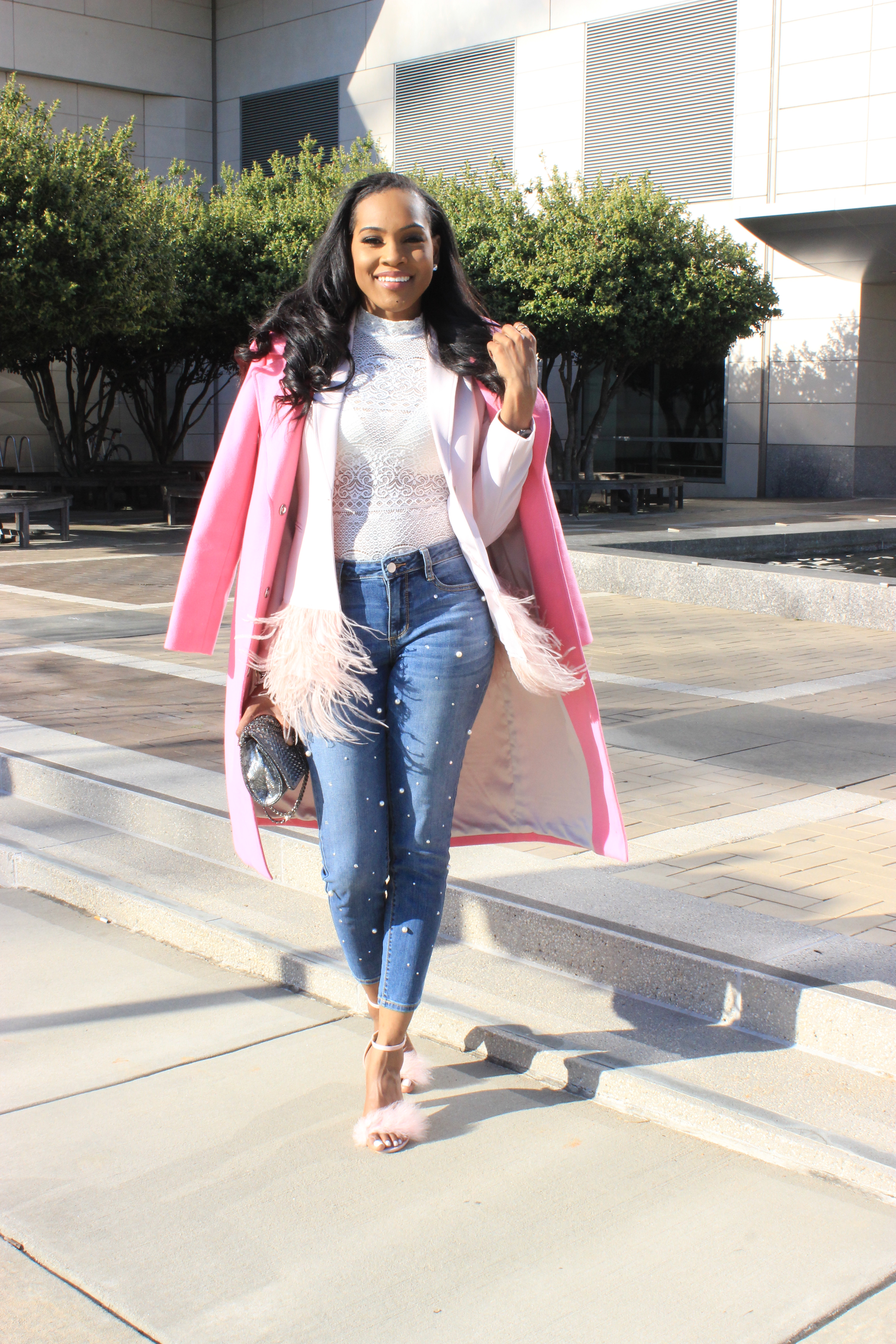 Style-files-Forver21-Semi-Sheer Lace Bodysuit-Alabama-top-blogger-birmingham-top-blogger-Missguided-Women- Pink Glitter-And-Feather-Block- Heel-Sandals-Gianni-Bini- Feather-Trim-Blazer-ANA-Pearl-Embellished-Skinny Jeans-11