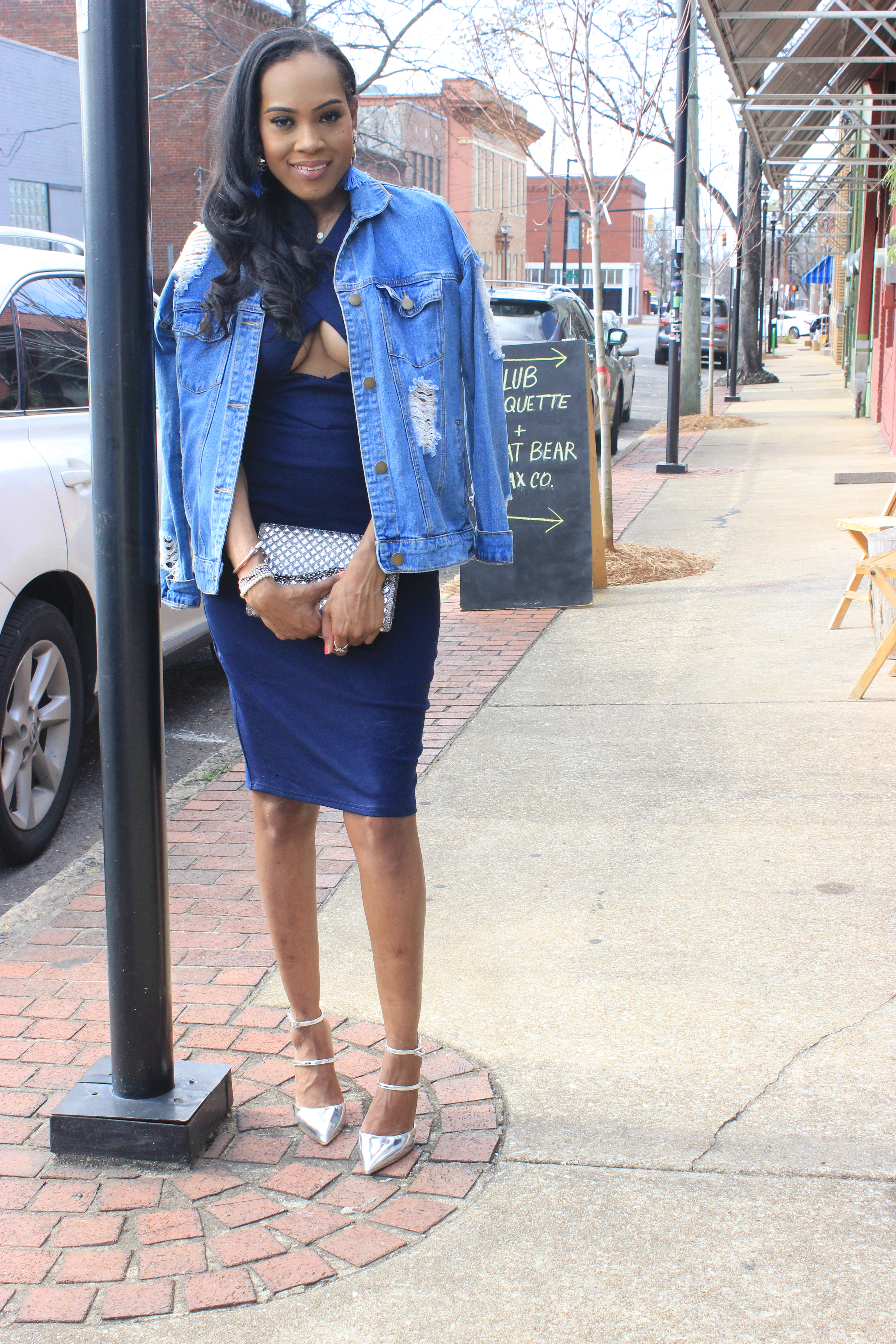 Style-files-Stars-Align-Midi-bodycon-dress-Forever21-distressed denim-jacket-ASOS-Picture-perfect-pointed-toe-heels-Oohlalablog-3