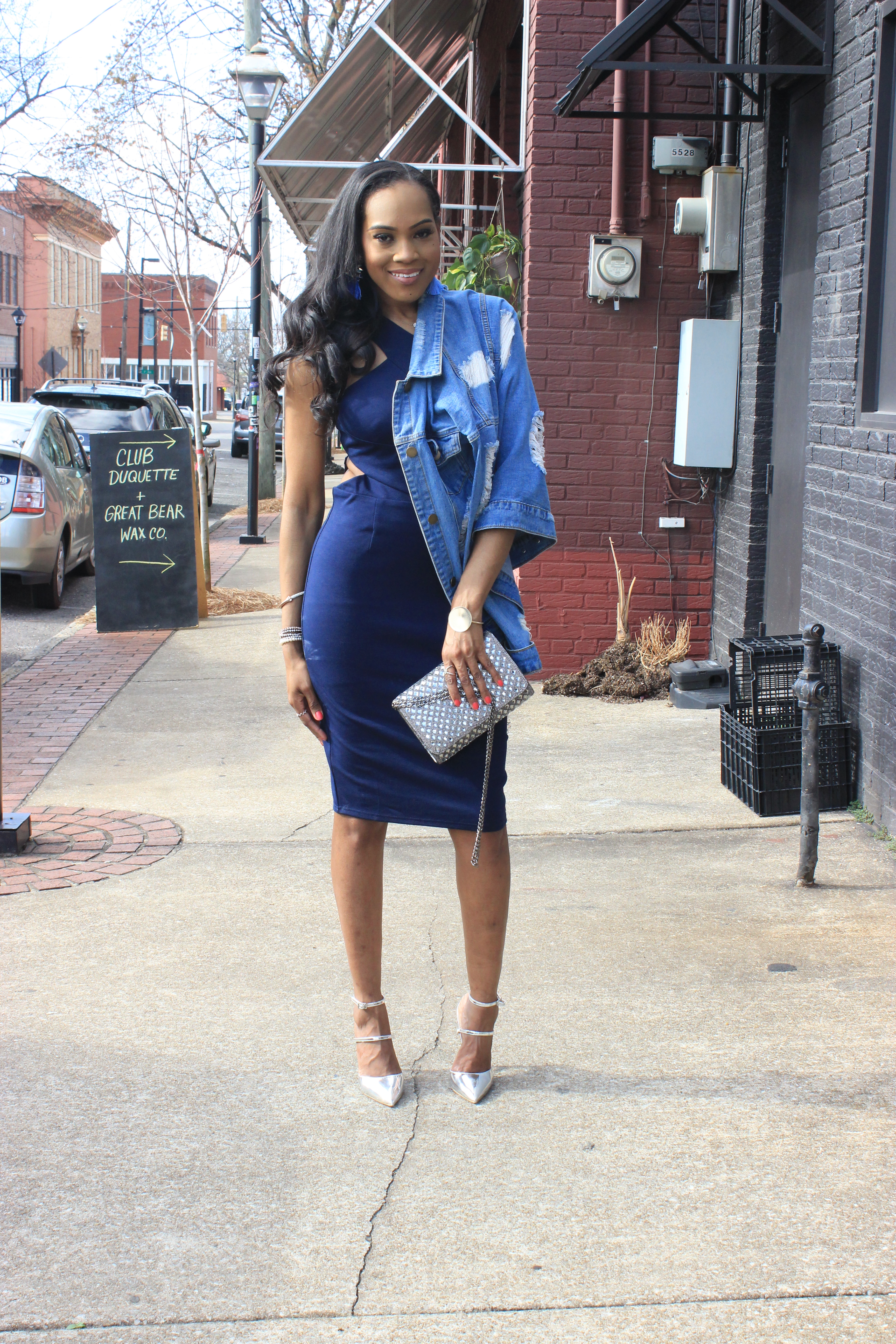Style-files-Stars-Align-Midi-bodycon-dress-Forever21-distressed denim-jacket-ASOS-Picture-perfect-pointed-toe-heels-Oohlalablog-4