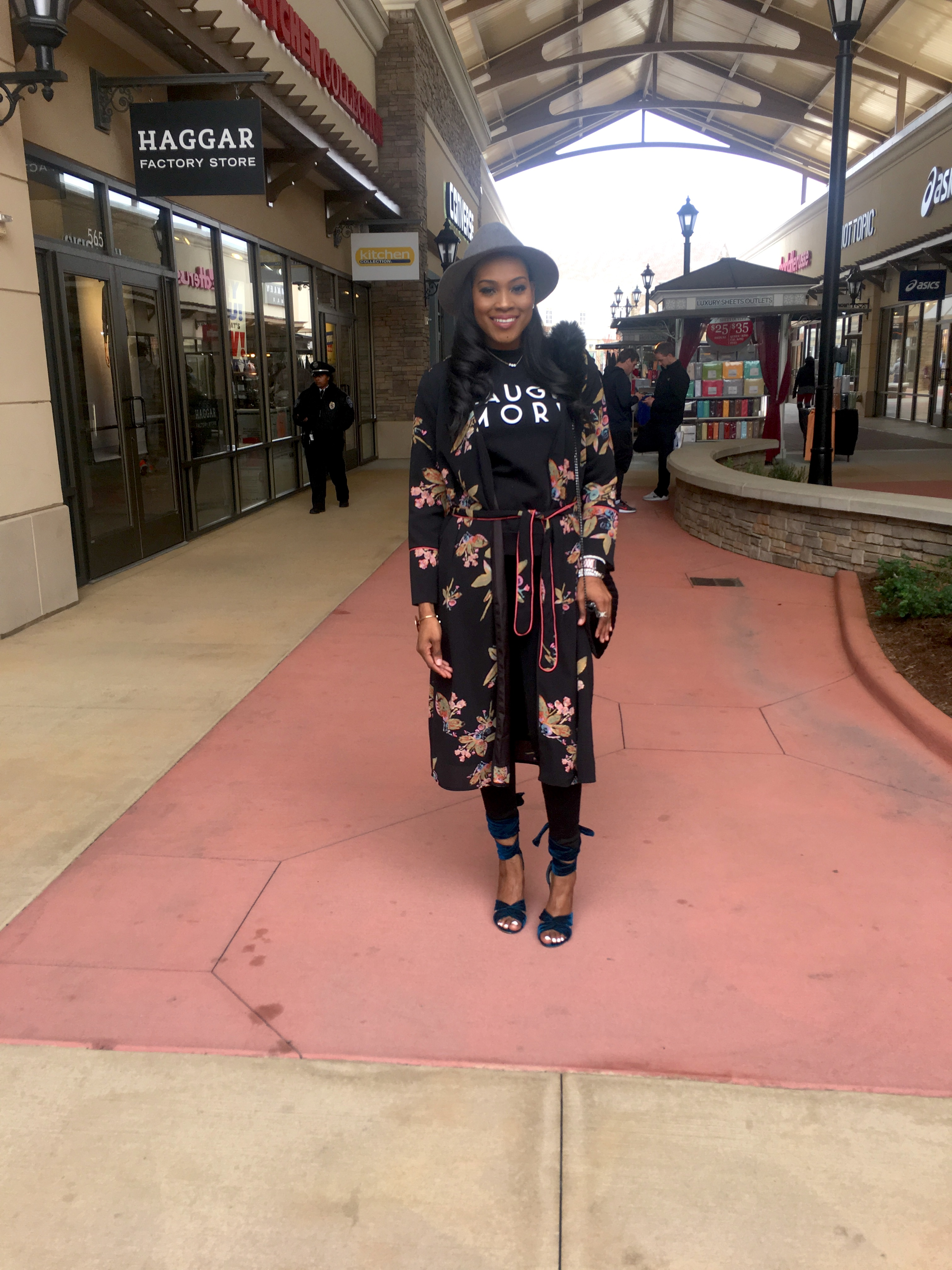 Style-Files-Black-floral-kimono-black-denim-jeans-HM-laugh-more-sweatshirt-justfab-teal-velvet-Acacia Heeled Sandals-Topgolf Charlotte-review-birmingham-top-bloggers-alabama-style-bloggers-oohlalablog-