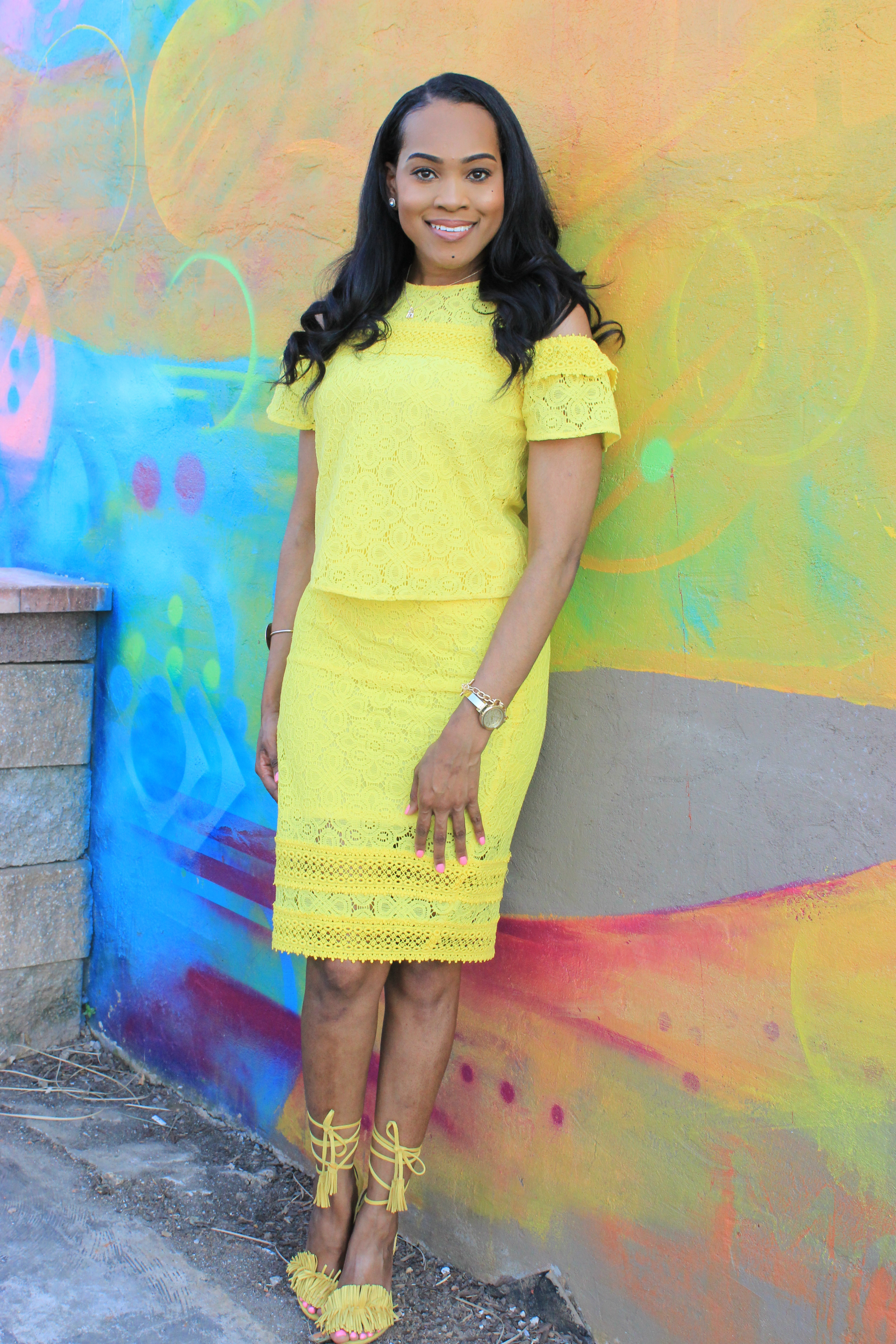 Style-files-JCPenney-Project- Runway Cold -Shoulder-Lace -Top-yellow-lace-pencil-skirt-yellow-fringe-justfab-sandals-Birmingham blogger-top-Birmingham-blogger-oohlalablog-6