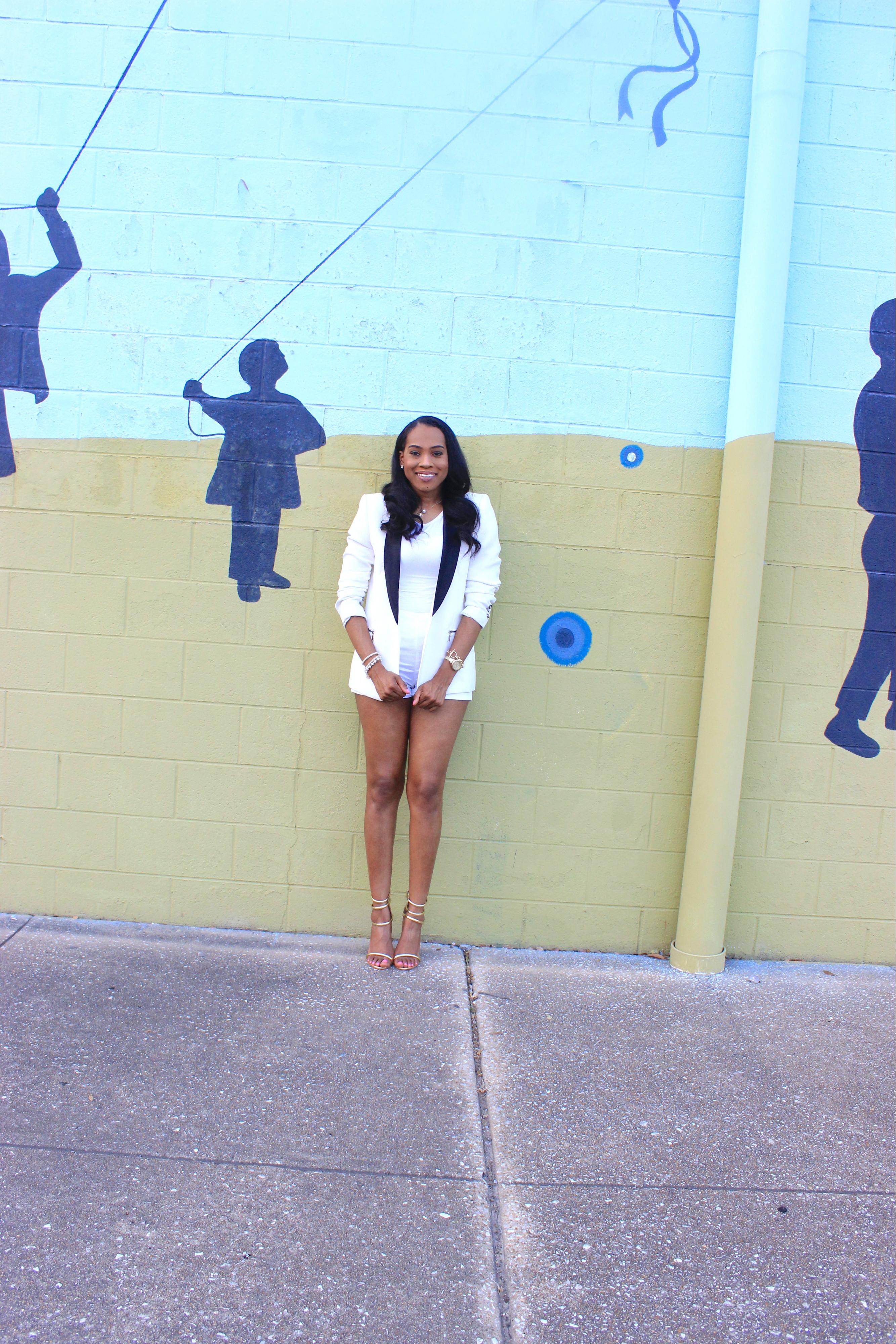 Style-files-forever21-white-zip-back-shorts-forever21-white-blazer with black-lapels-tuxedo-style-blazer-public-desire-Aisha-gold-strappy-heel-sandals-birmingham-top-blogger-oohlalablog-5