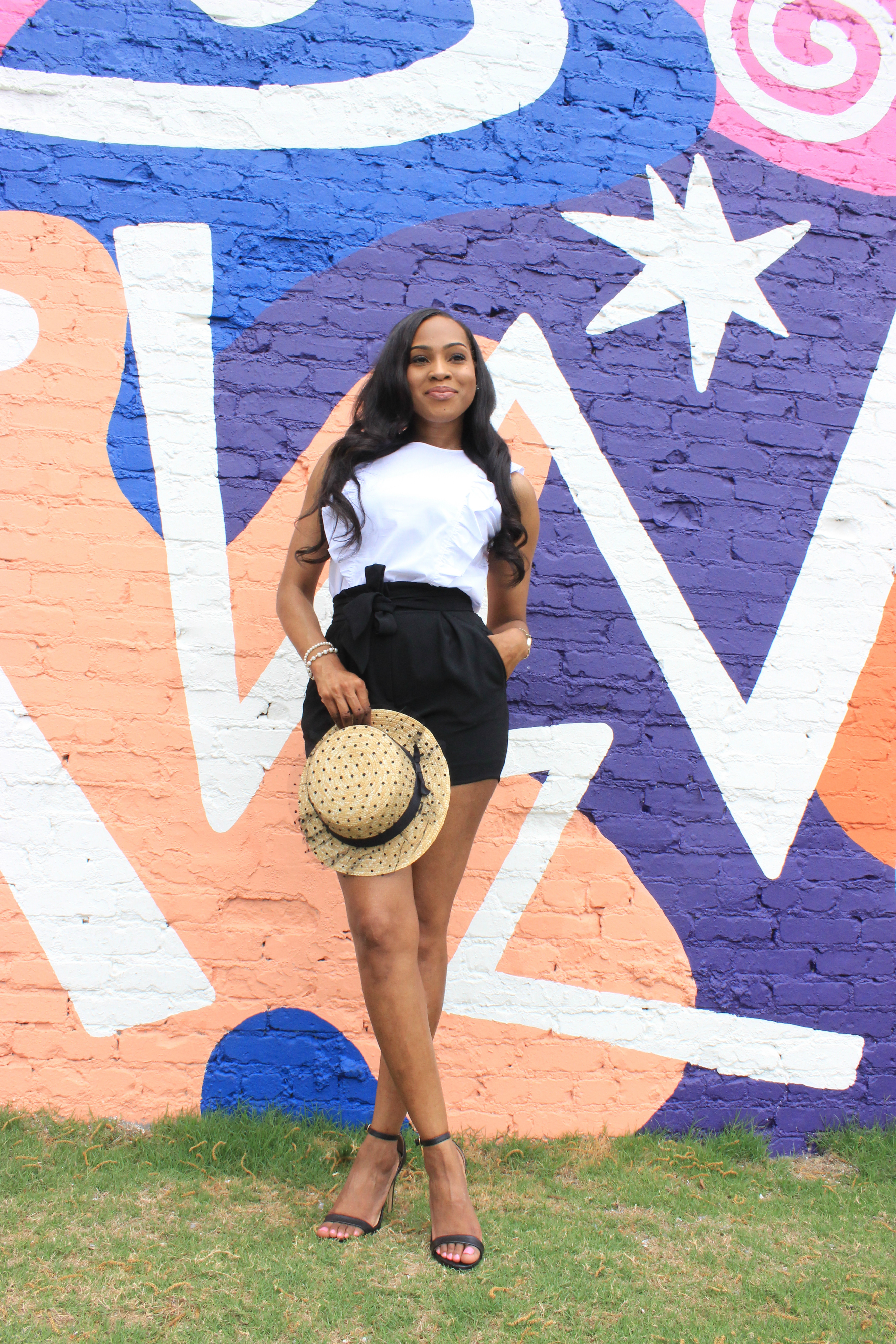 style-files-Michael kors white ruffle sleeveless top-HM-tie-front-black-shorts-amazon- polka -dot straw-hat-justfab-black-ankle-strap-sandals-birmingham-top-bloggers-oohlalablog-3