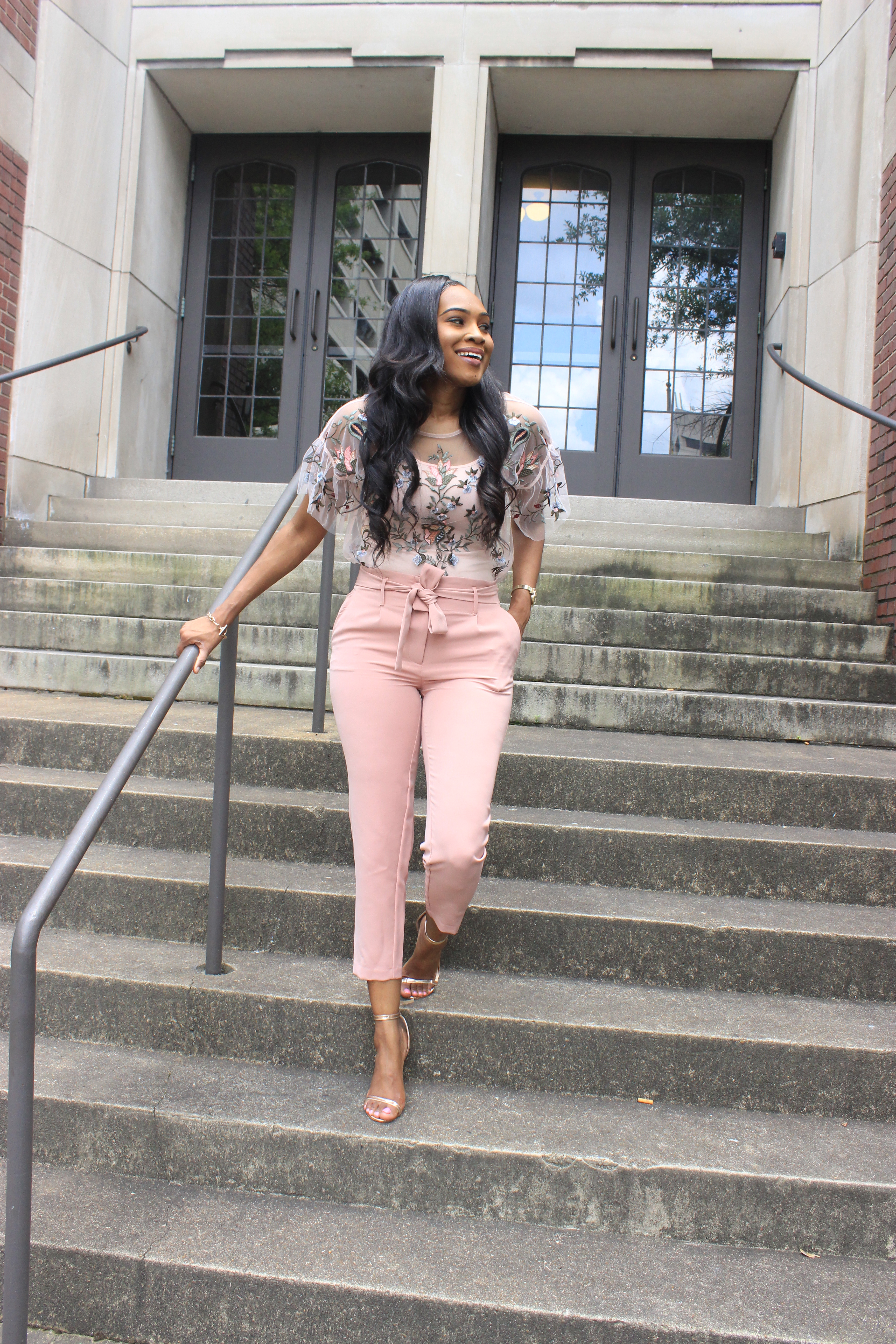 Style-files-Daila-Floral- Embroidered-Applique- Flounce-Sleeve-Sheer- Top-High-waist-pink-tie-front-pants-Birmingham-top-blogger-Alabama-top-blogger-oohlalablog-3