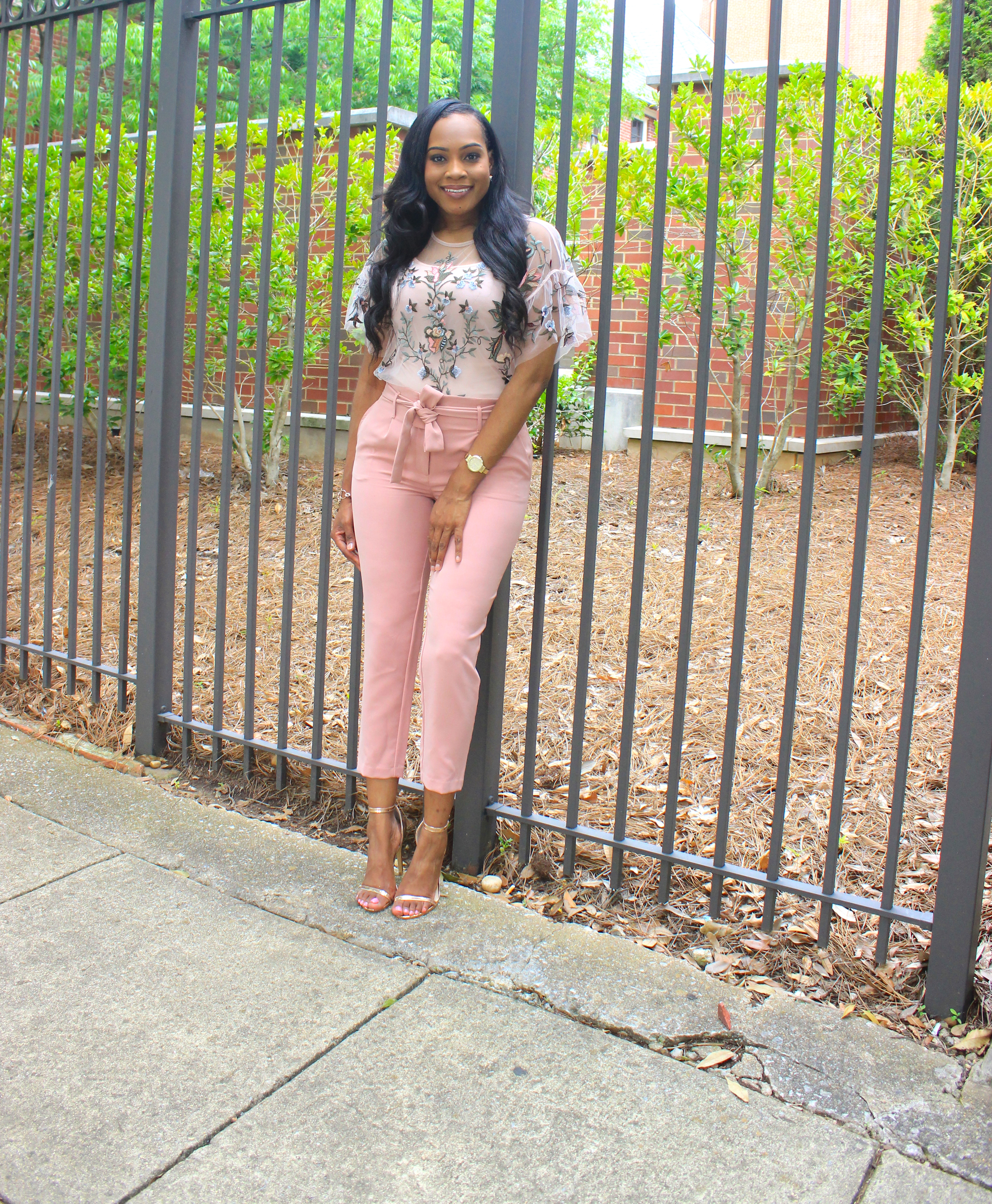 Style-files-Daila-Floral- Embroidered-Applique- Flounce-Sleeve-Sheer- Top-High-waist-pink-tie-front-pants-Birmingham-top-blogger-Alabama-top-blogger-oohlalablog-7