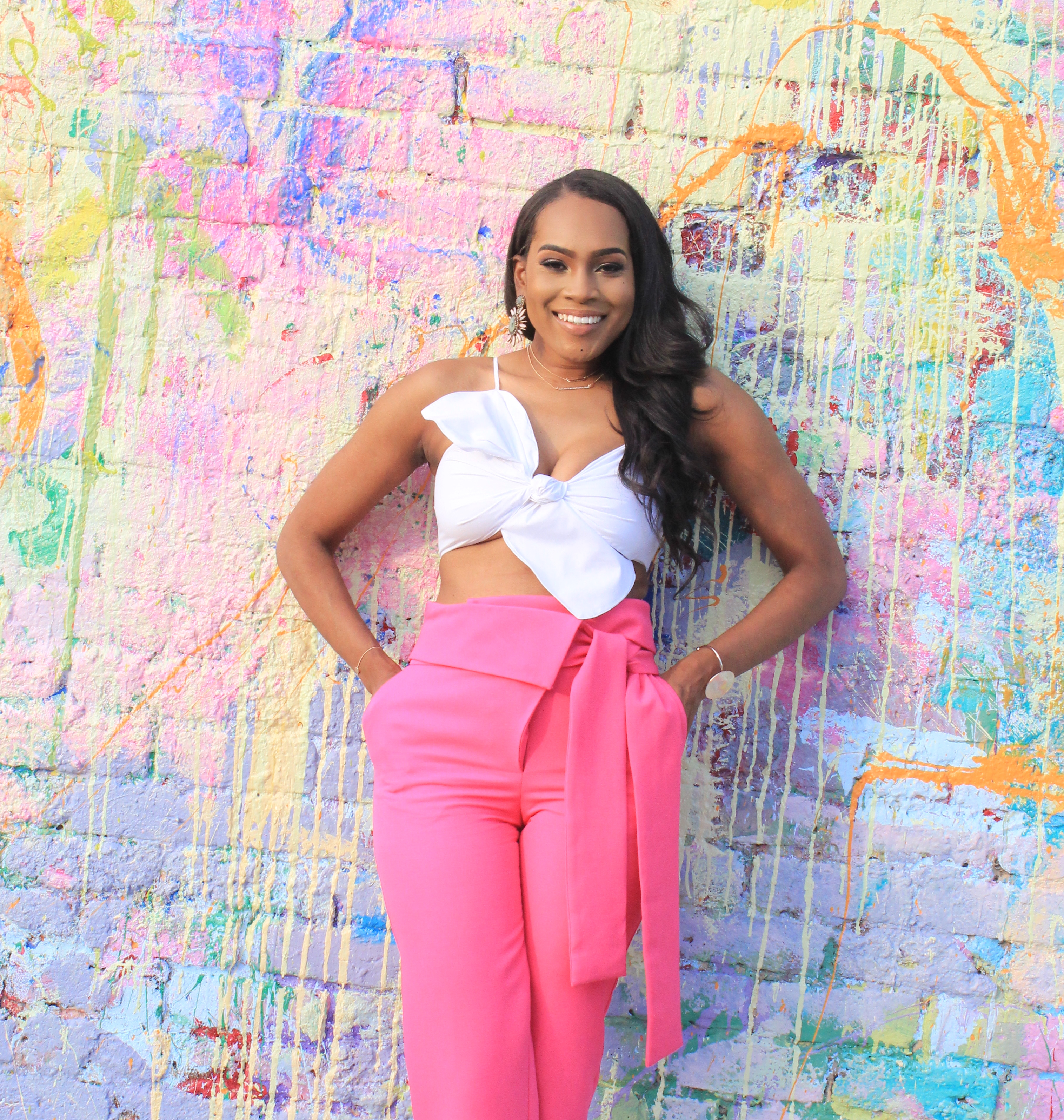 Style files-Hot-pink-asos-pants-with-origami-waist-tie-detail-truffle-collection-barely-there-heel-sandal-rose-gold-forever-21-contemporary-white-cropt-top-perfect-summer-pants-top-birmingham-bloggers-oohlalablog-4